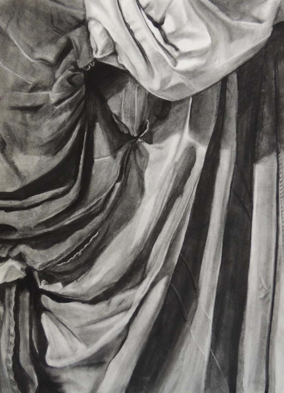 "Student: Emelia Clarke Project: ""Additive/Reductive Drapery"" (Drawing I) Charcoal on Rives BFK  22""x30"""