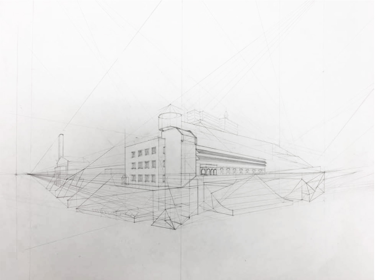 "Student: Holden Pizzolato Project: ""Two Point Perspective Metamorphosis"" (Drawing II) Graphite 18""x24"""