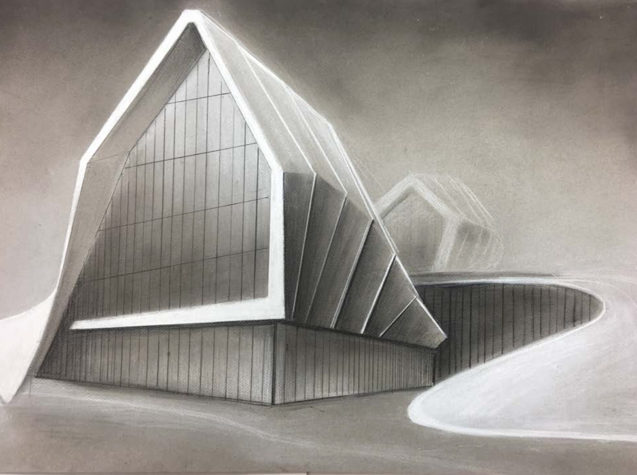 "Student: Katie Roosa Project: ""Two Point Perspective Metamorphosis"" (Drawing II) Conte crayon 18""x24"""