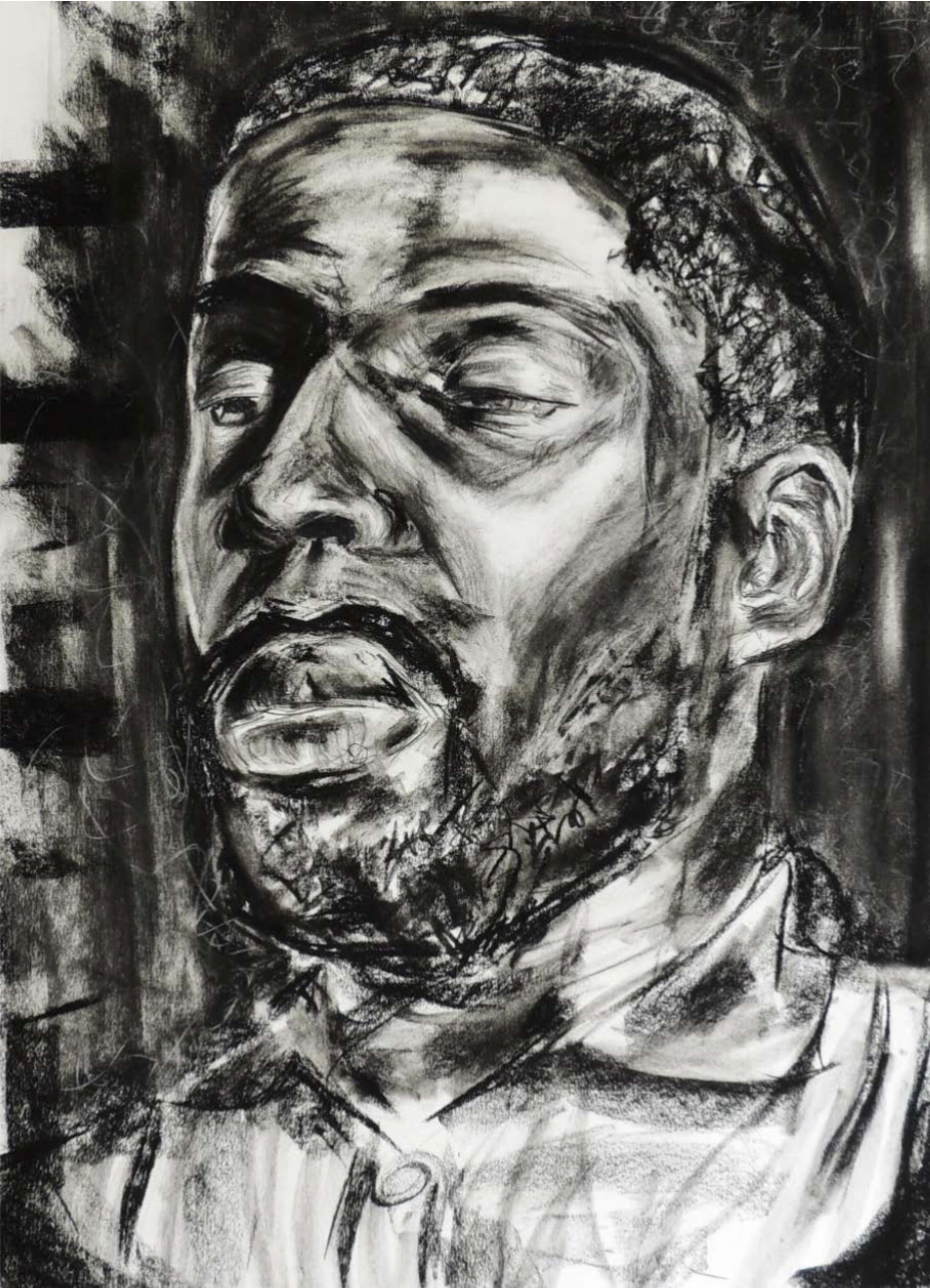 "Student: Jonathan Pinto Project: ""Portrait"" (Drawing II) Charcoal on Rives BFK 22""x30"""