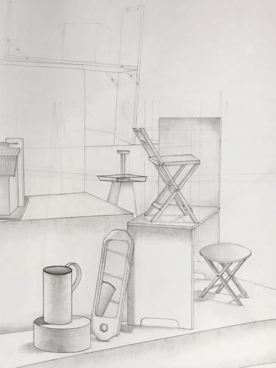 "Student: Sophie Astro Project: ""Still Life in Perspective"" (Drawing I) Graphite 18""x24"""