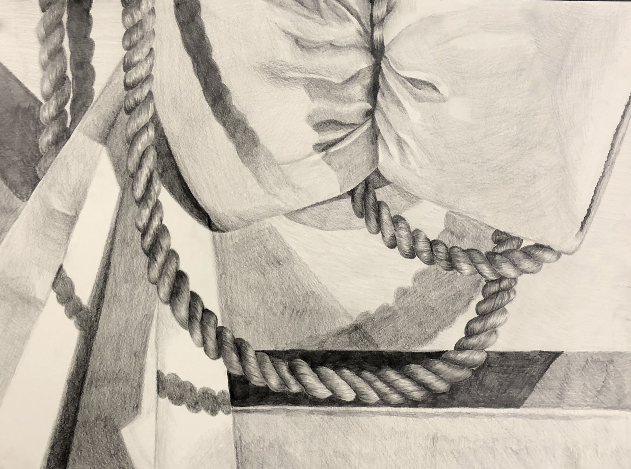 "Student: Lauren Powderly Project: ""White Still Life"" (Drawing I) Graphite 18""x24"""