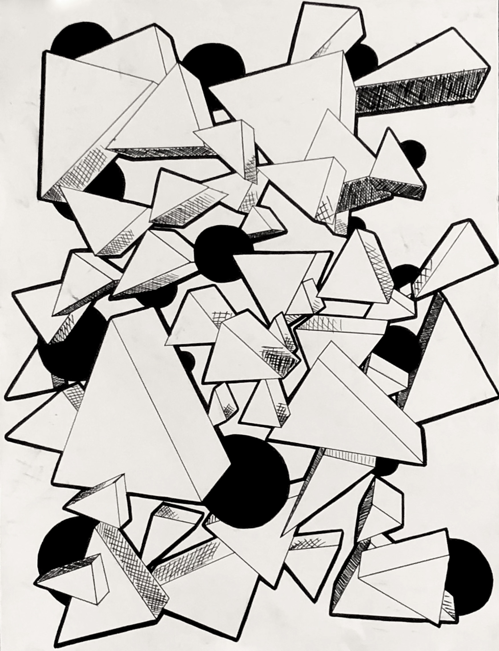 "Student: Shann Riley Project: ""Imagined Shapes in One Point Perspective"" (Drawing I) Micron Pen 18""x24"""