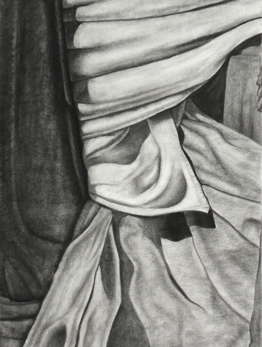 "Student: Sophie Astro Project: ""Additive/Reductive Drapery"" (Drawing I) Charcoal on Rives BFK 22""x30"""