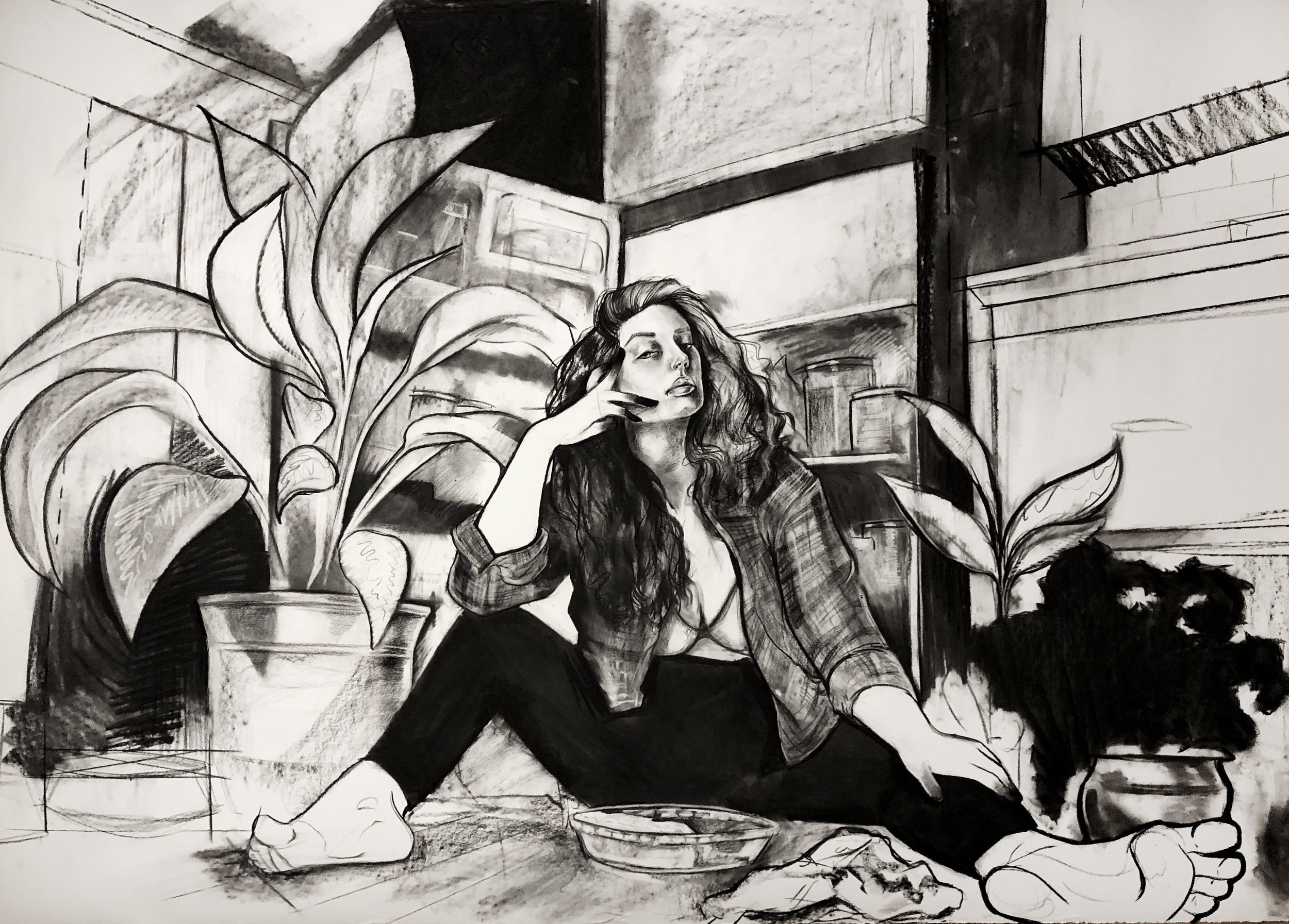 """Bloom Where Your Pants Land"" Charcoal on Stonehenge Paper 72""x50"""