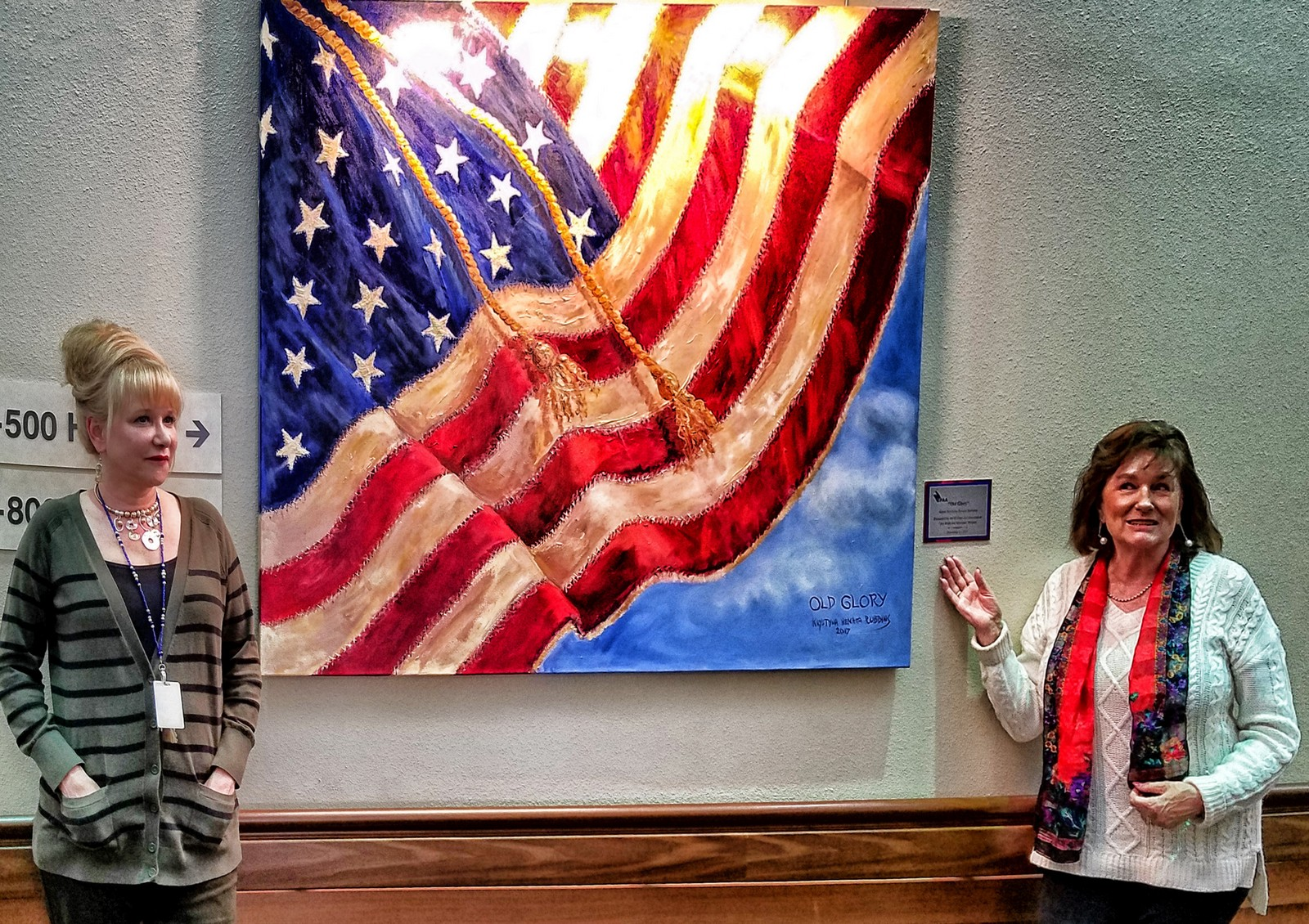 Krystyna Robbins donates her painting Old Glory to Ambrosio Guillen Veterans' Home in El Paso   DONATE to the Art For Veterans Program