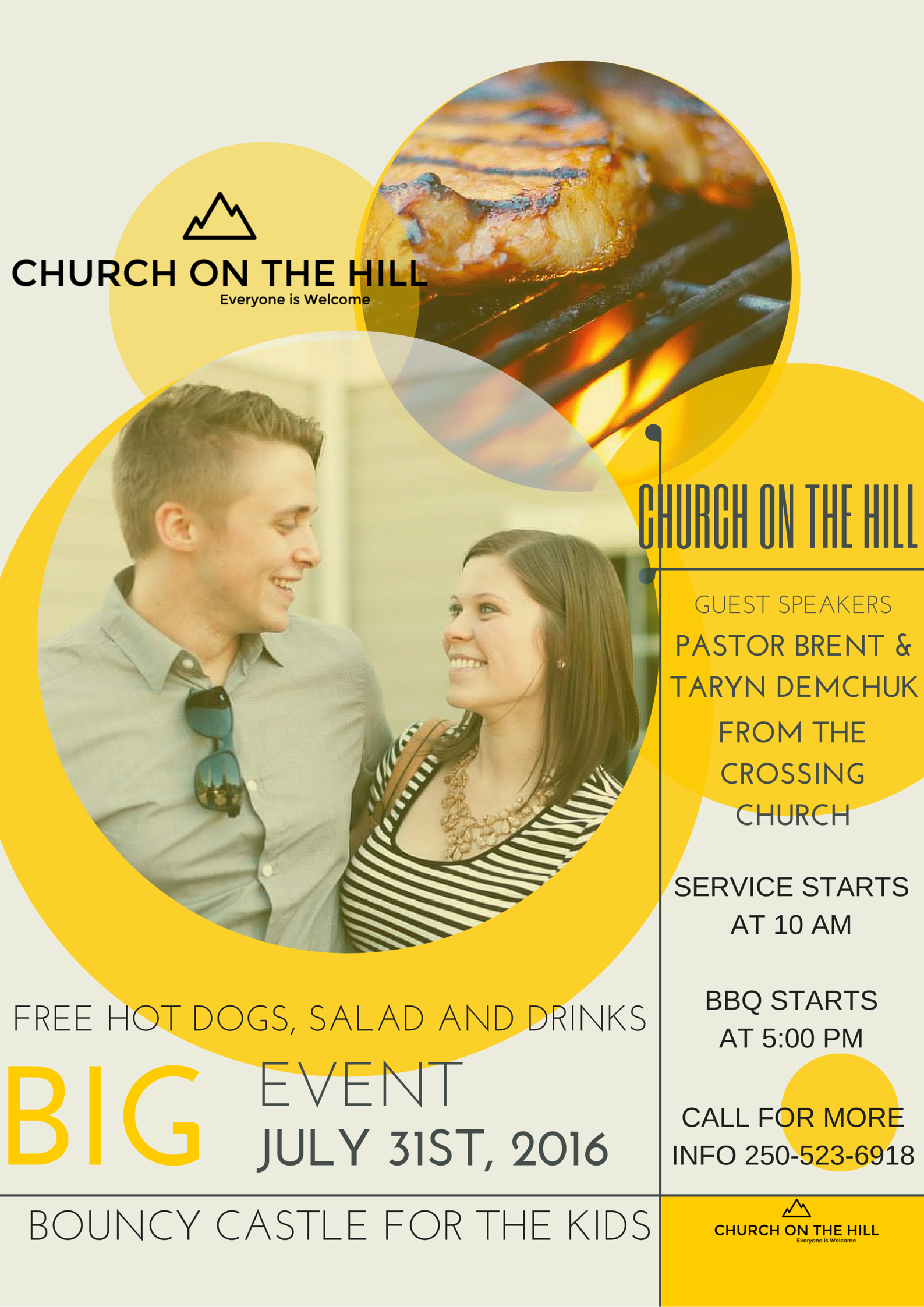 Hey guys we are having our first open house for Logan Lakers here at Church on the Hill. We are having our friends from the brand new Church Plant the Crossing church from the White Rock area. They are excited to see community come together in Jesus. Music will be provided at the service and then in the evening starting at 5 Pm at the church we have hot dogs, popcorn, salad and great times ahead. We would love to see you there.