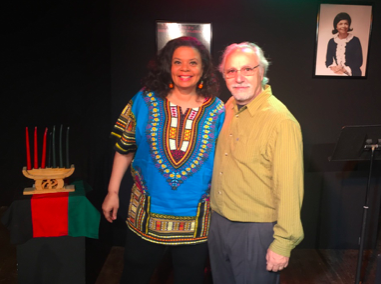 Yvette Heyliger and Mario Giacalone after a performance of Bridge to Baraka in the 2018 United Solo Theatre Festival on Theatre Row.