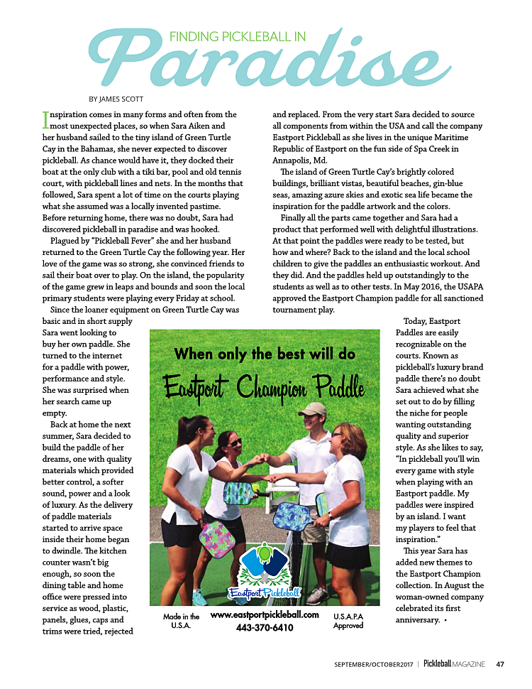 THANK YOU PICKLEBALL MAGAZINE FOR THE GREAT ARTICLE ABOUT EASTPORT PICKLEBALL!