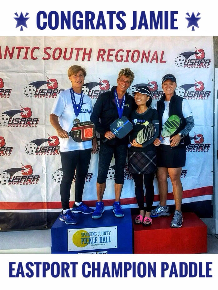 """Congrats Jamie Whiting for winning the USAPA Women's Doubles match at the USAPA Atlantic South Regionals. She was playing with the Eastport Champion """"Thin Blue Line"""" paddle"""