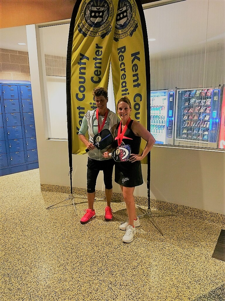 Gold Again for Jamie Whiting playing with her Eastport Pickleball Thin Blue Line paddle & Erica in Dover, Delaware. -