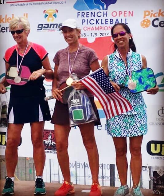 Eastport Pickleball Sponsor of the French Pickleball Open & Sara also won the Bronze in Women's Singles -