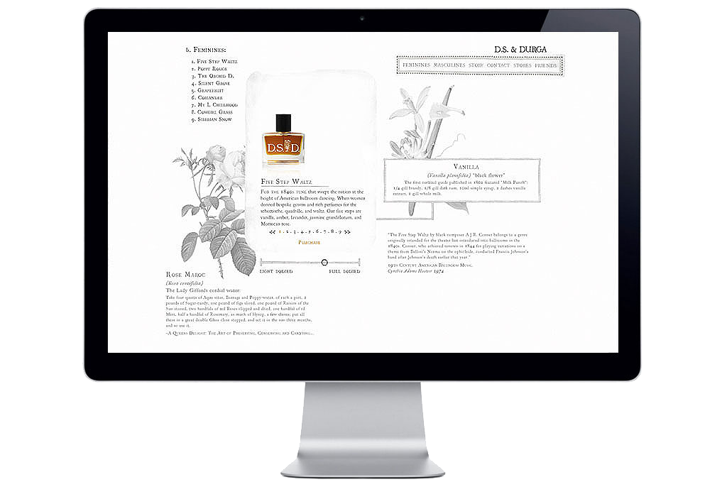 The D.S. & Durga Perfumers website, in development.