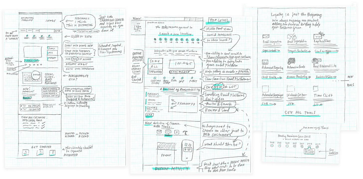 Daily production of low-fidelity sketches helped us iterate and identify use improvements