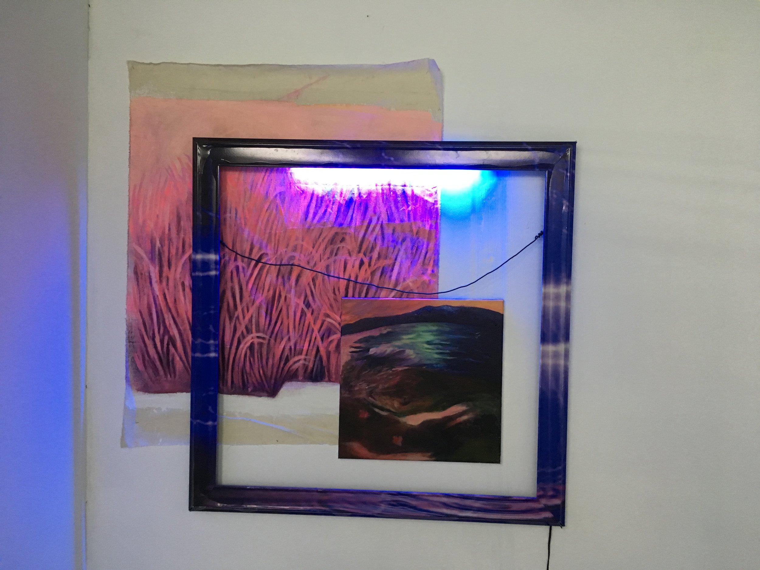"LOVELY LOVELY LOVV, 2012-18  acrylic, digital print on sticker, frame, blue light, canvas 50"" x 50"""