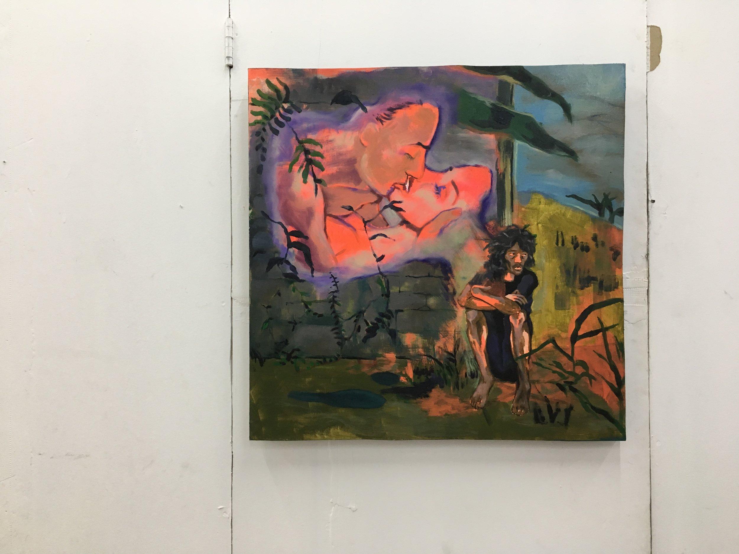 "MAXIMUM CLUB, 2018, oil, acrylic on wood 24""x 24"""