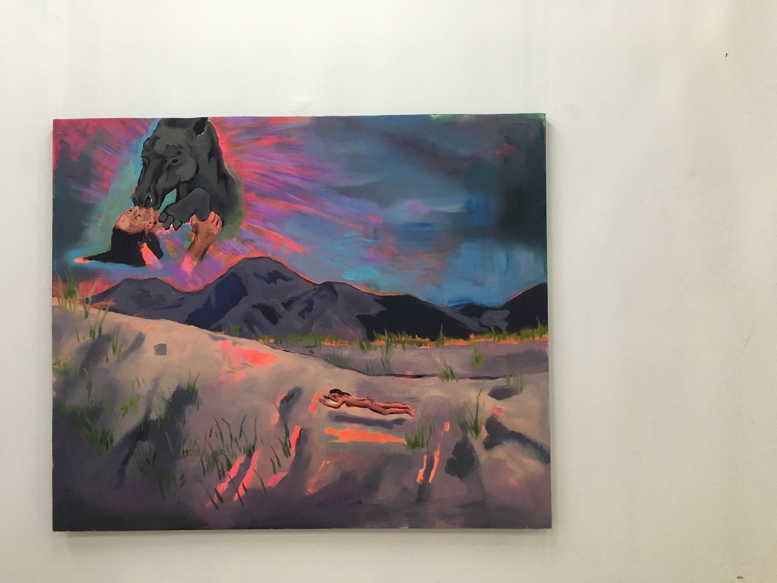 """DREAM HORSE, 2018, oil, acrylic on wood 40"""" x 48"""""""
