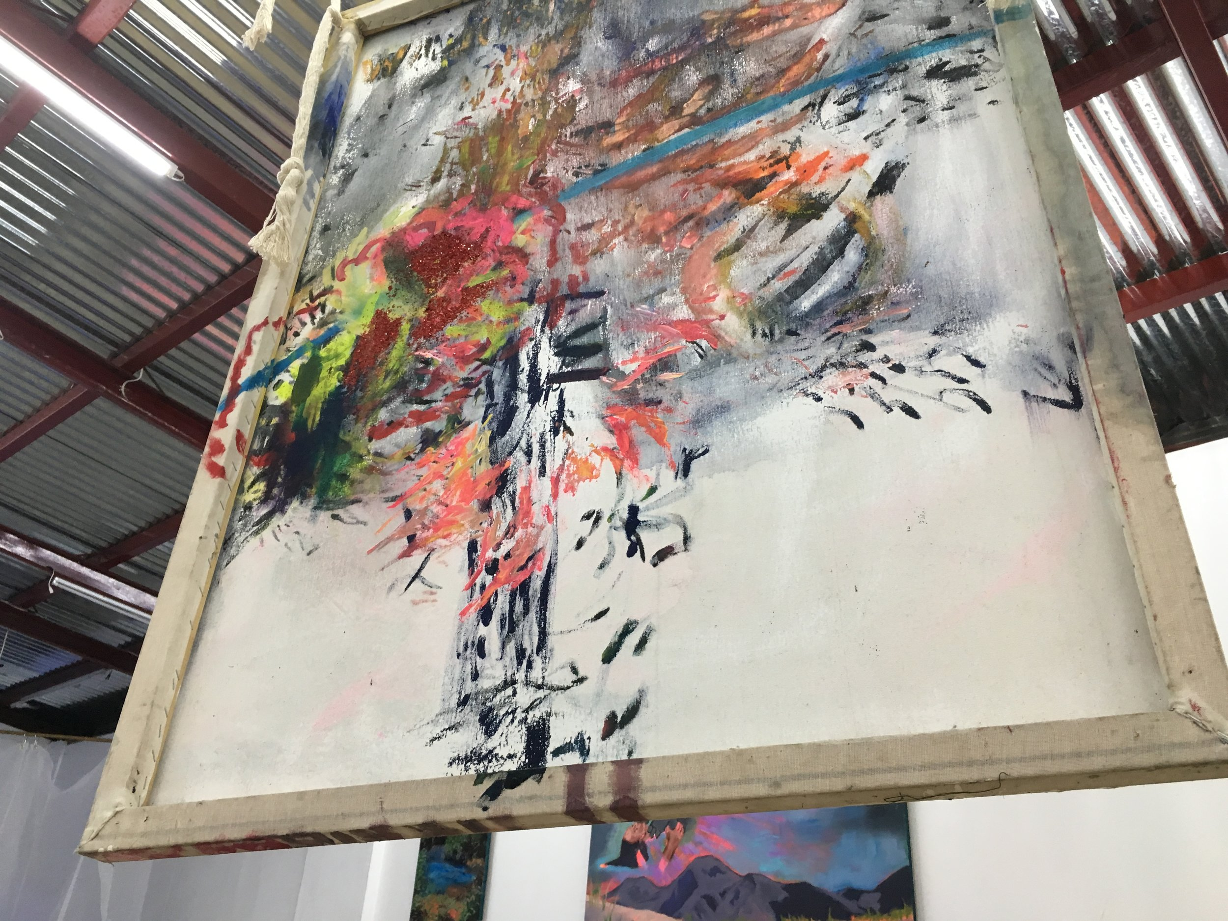 "LOVELY, 2017-18,acrylic, glitters on canvas 48""x 36"""
