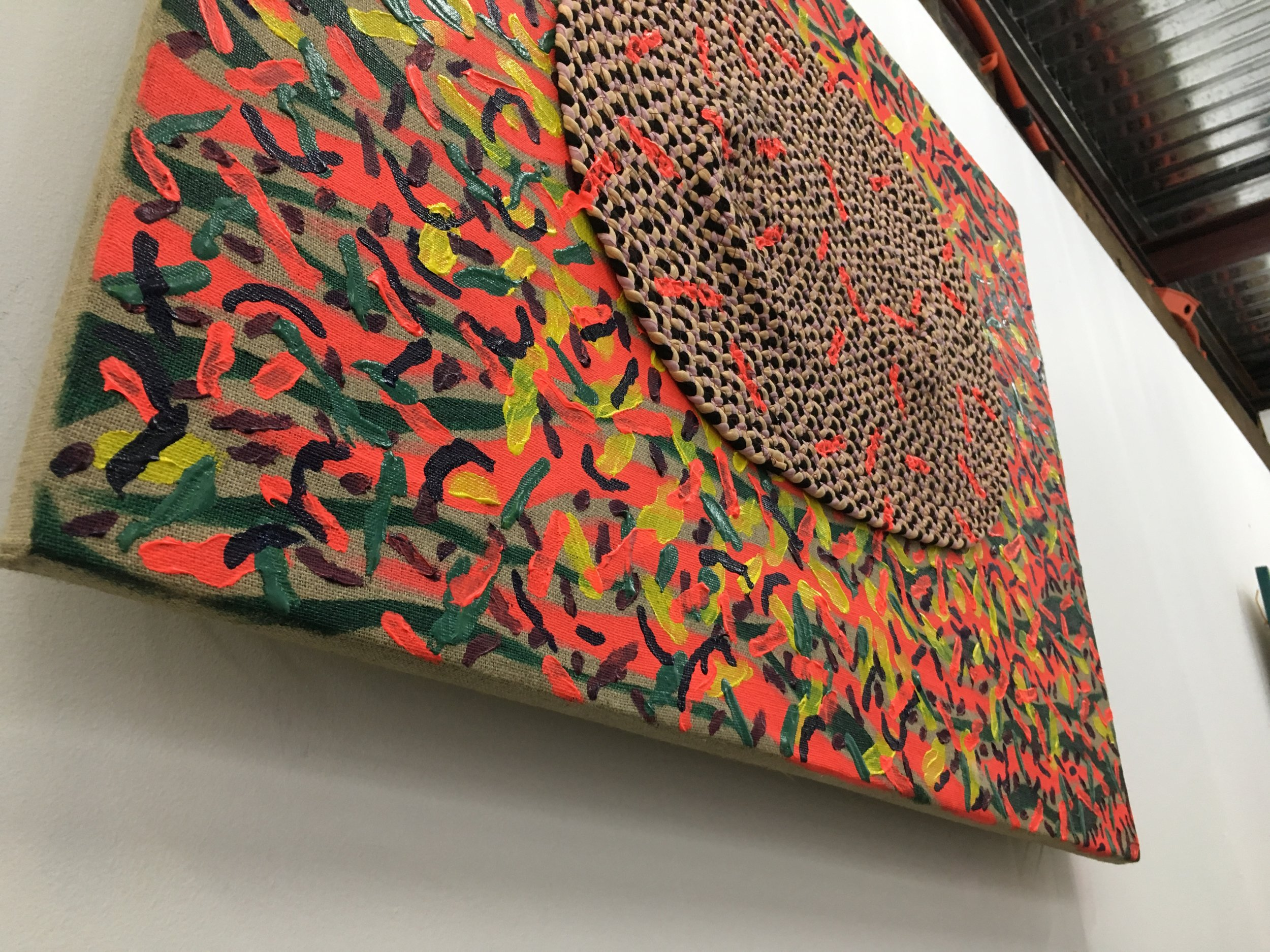 """SO SLOW 1, 2017,acrylic, burlap, doormat, plywood 25"""" x 33.5"""""""