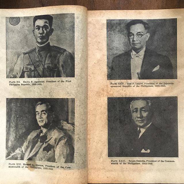 Clockwise   Emilio F Aguinaldo, President of the First Philippine Republic 1898-1899  Jose P Laurel, President of the Japanese sponsored Republic of the Philippines 1943-1945   Manuel L Quezon, President of the Commonwealth of the Philippines 1935-1944   Sergio Osmena, President of the Commonwealth of the Philippines 1944-1946