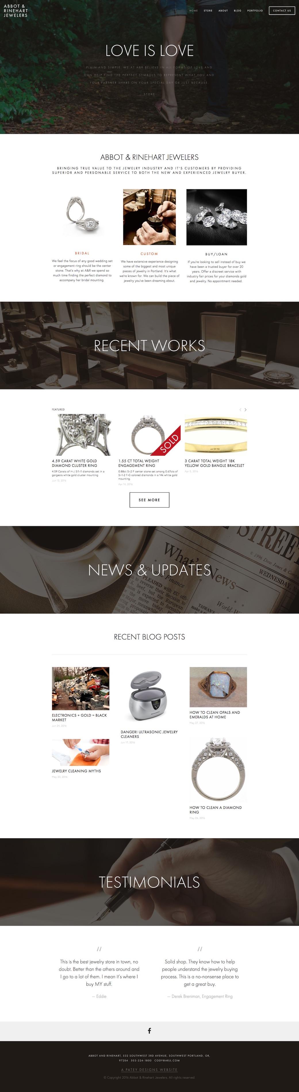 ARJL jewelry e-commerce website built by Patey Designs Portland Oregon
