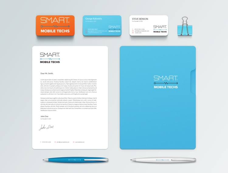 Logo and Branding Package for Smart Mobile Techs designed by Patey Designs