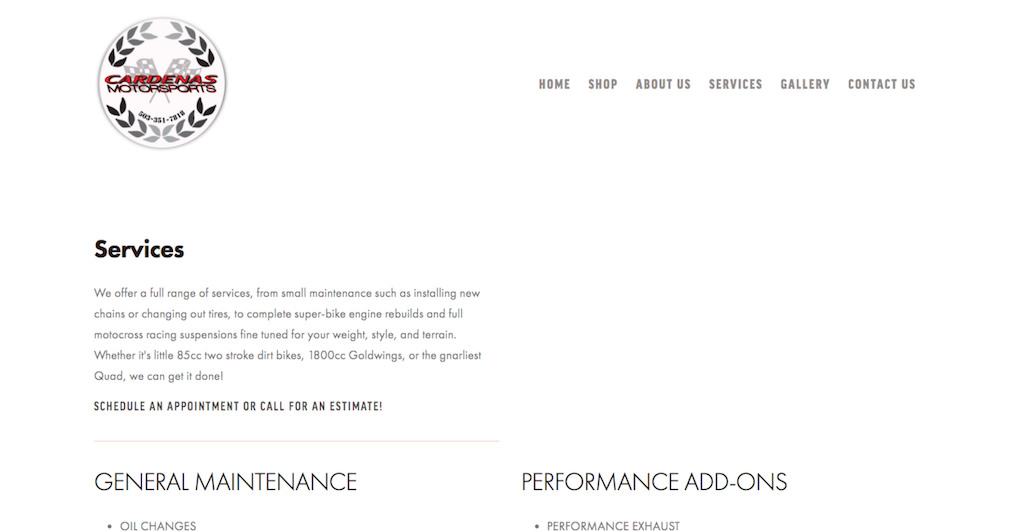 Services section of the website redesign prominently displays the range of services provided by Cardenas Motorsports at their shop.