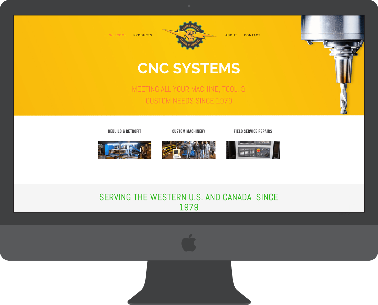 "We implemented a ""loud"" and attention-grabbing color to go along with a slideshow of services offered and a responsive CNC bit that follows the user as they scroll the website."