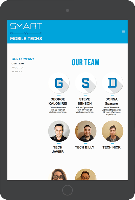 "Team section with photos lends a ""human"" aspect to any company."