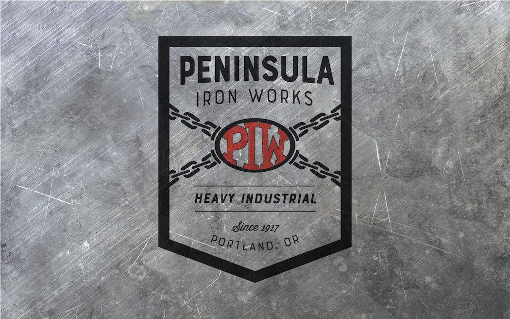 Newly redesigned logo overlayed on a steel background image.