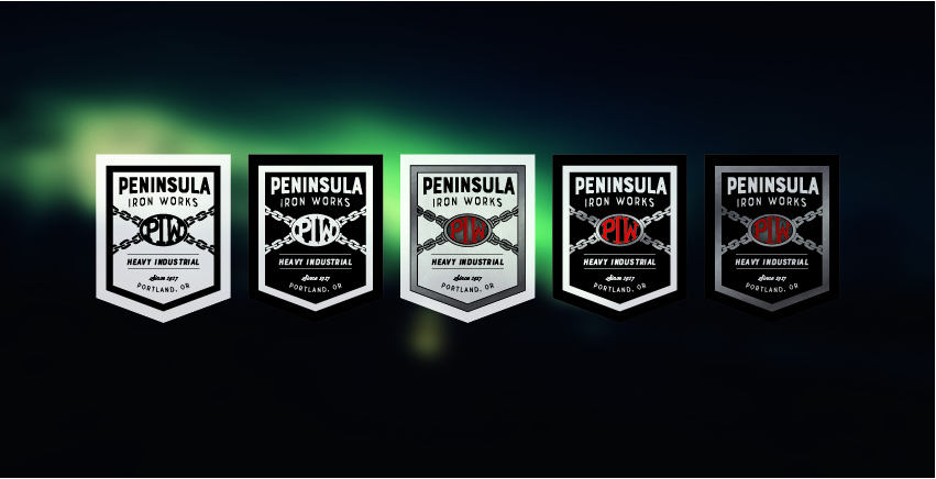 Different iterations of the new Peninsula Iron Works logo allow for flexibility in their usage by the company.