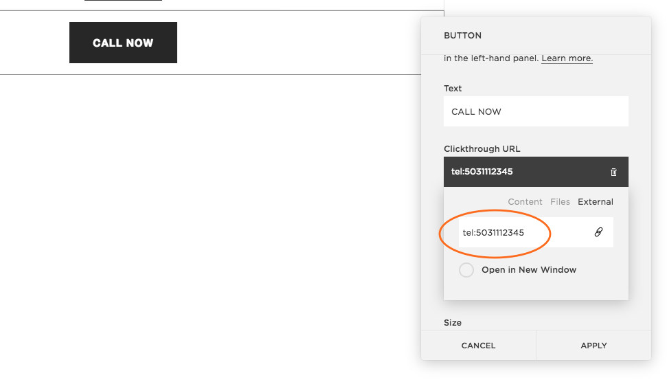 You can also turn buttons into clickable telephone links in Squarespace using the same technique.