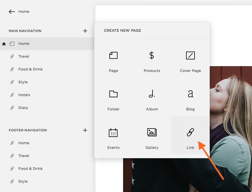 "Click ""link"" to add a navigation link to your Squarespace menu."