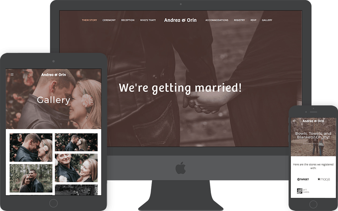 Andrea and Orin's wedding website comes fully responsive with a gallery, registry, RSVP, and biography page.