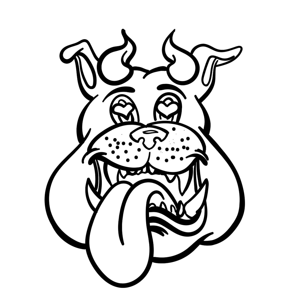 Finished Horn Dawgs digital inking bulldog head logo