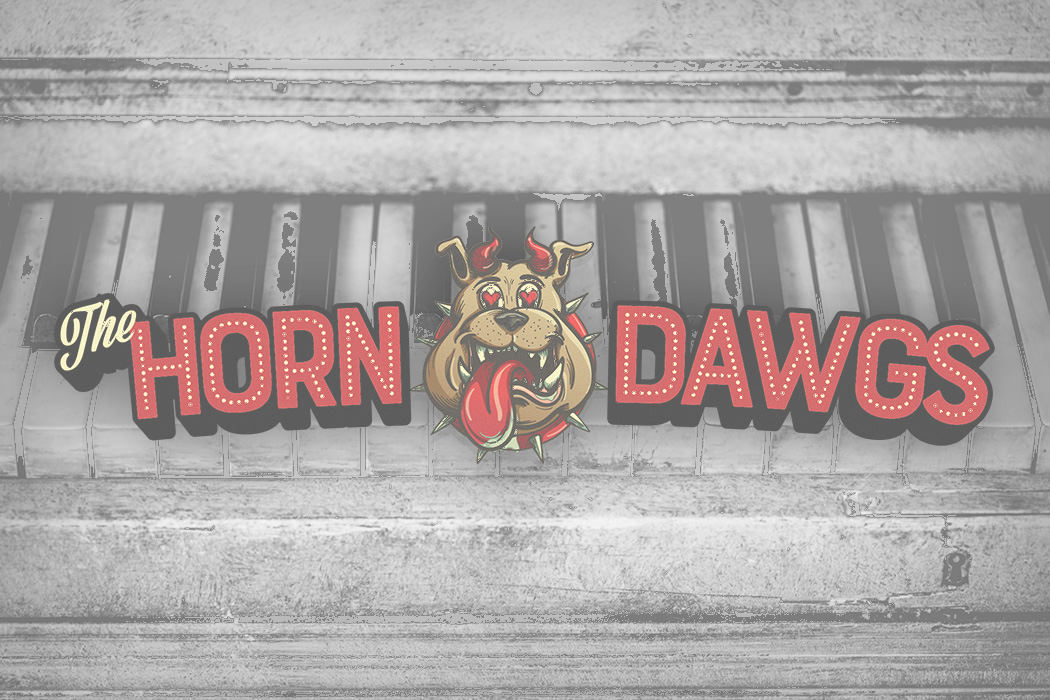Horn Dawgs finished logo perfect for banner and wide website usage.