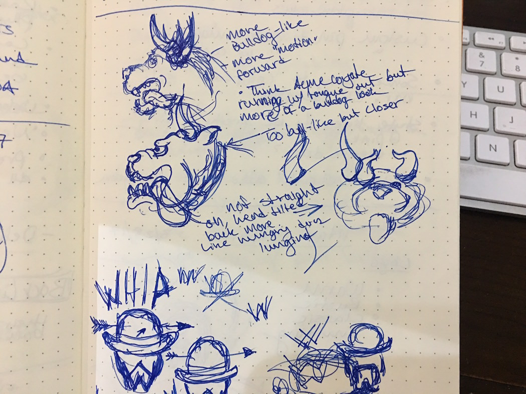 Quick pen and paper sketch to work out a few of the ideas I had floating around in my head for the Horn Dawgs.