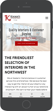 The homepage of Koeber's Interiors new mobile responsive website - iPhone view.