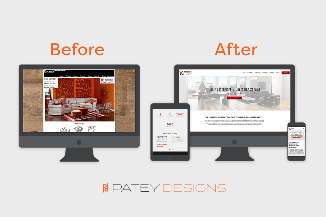 Before and after images of the Koeber's Ineteriors website redesign.