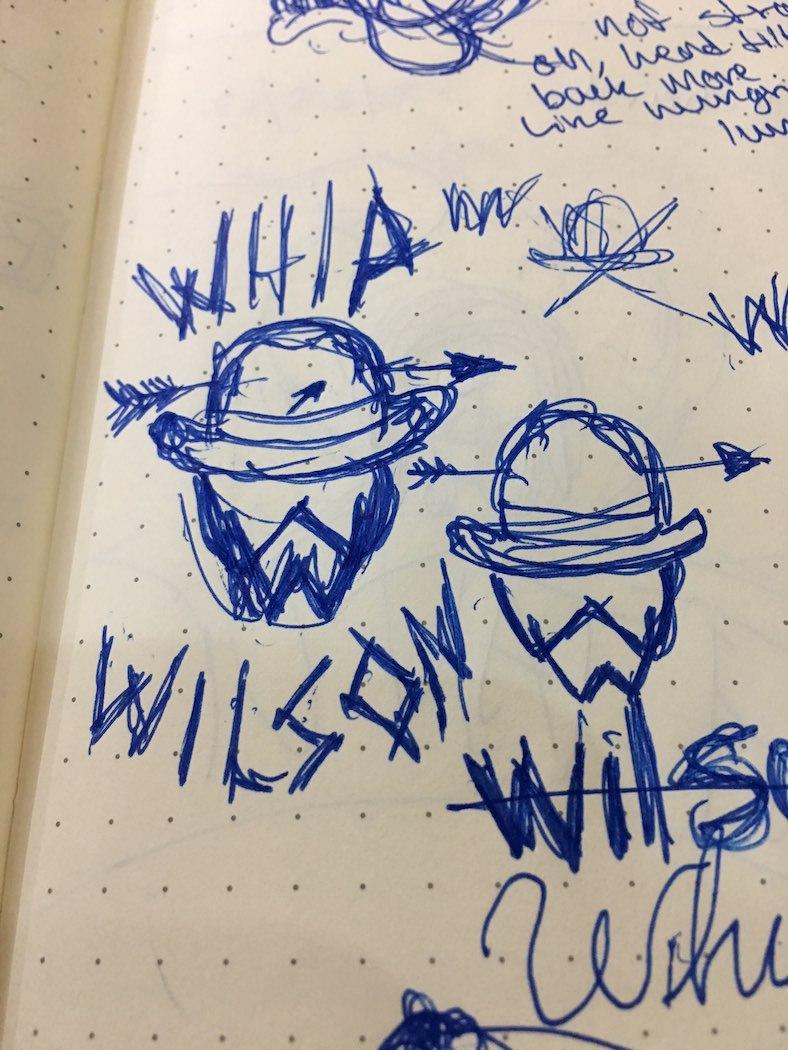 Sketch 1: Logo ideas begin to flesh out in sketch form.