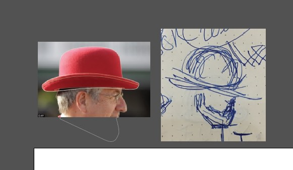 Rough outline work in Adobe Illustrator is done over reference photos.