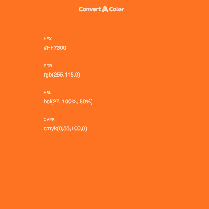 Easily convert CMYK, RGB, HSL, and HEX colors just by entering a known color code.