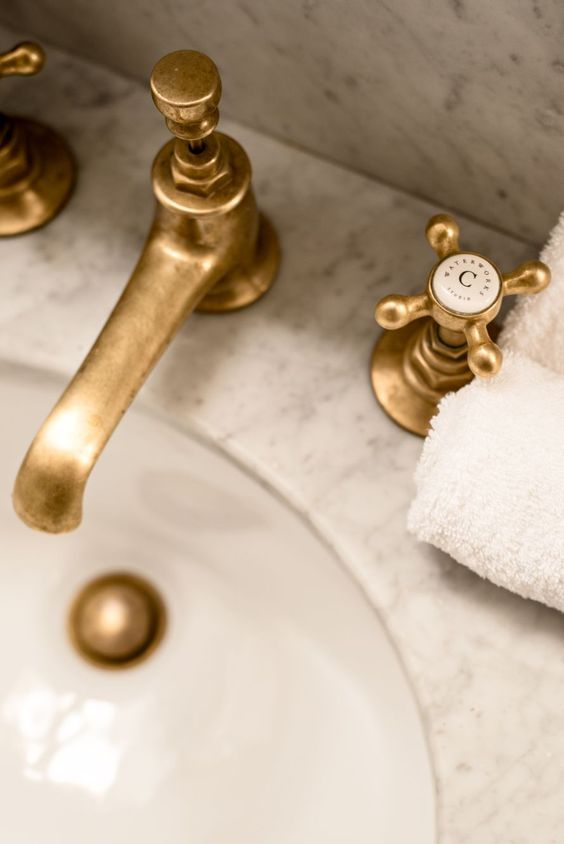 Vintage inspired fixtures with antiqued finishes. Credit: WaterWorks