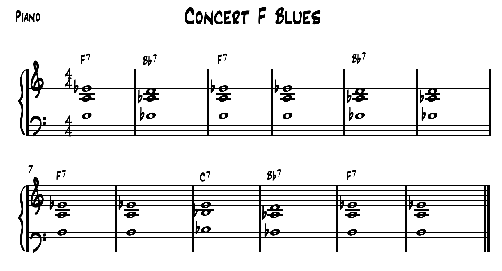 Beginner Concert F Piano Voicings. Feel free to transpose these chords to another key and use it with your students.