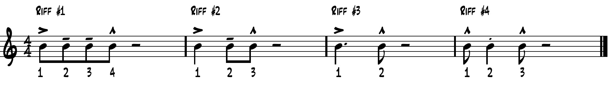 Exercise 3: The jazz band learns to apply the minor pentatonic scale to the rhythms above by using the first couple notes of the minor pentatonic scale ascending.