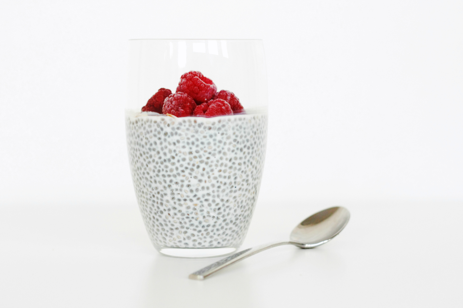 Textured, simple chia pudding with fresh rasberries