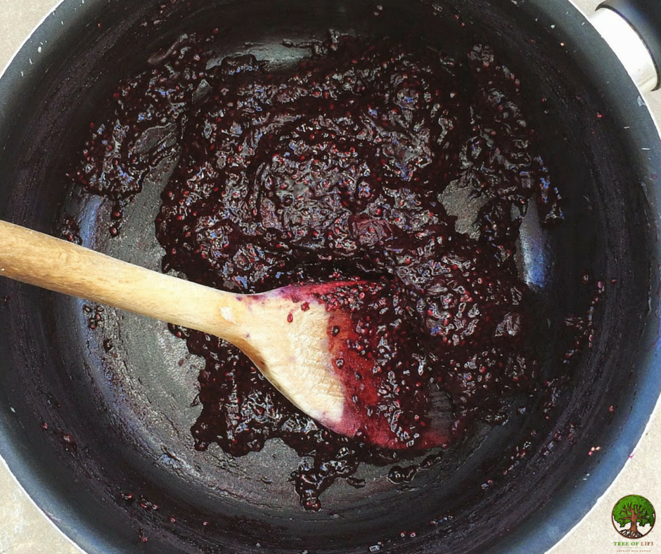 Blueberry jam almost done and the consistency looks GOOD!