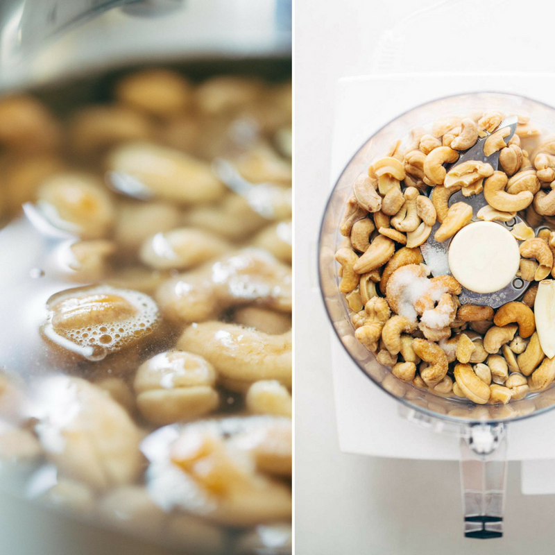 Soak cashews in water for 2 hours and add to blender with other ingredients  Image credits : Pinchofyum.com