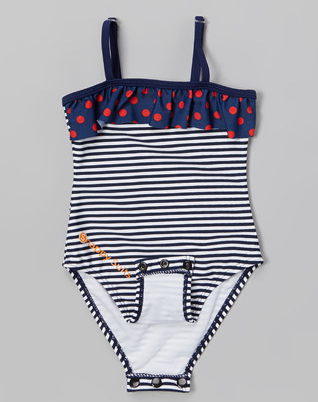 Snappy Suits Blue + White Striped with Ruffle, $28-