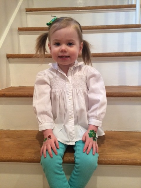 We kept it simple this year...Lucy's jeans are from Old Navy (last year), her shirt is a hand-me-down from her cousin Addie, her caterpillar bow is from her Aunt Kerry and I bought her the Irish bling on her hands for this special day! xx